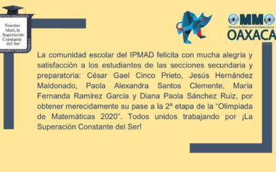 "Estudiantes pasan a 2a etapa de la ""Olimpiada Mexicana de Matemáticas"""